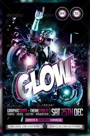 glow flyer glow neon dance party flyer poster clubs parties