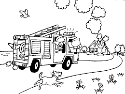 Small Picture Firemen On A Fire Truck And A Burning House Coloring Page