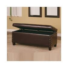 Amazon.com: Broadbent Leather Bedroom Bench With Storage And Pin Trim In  Deep Brown: Garden U0026 Outdoor