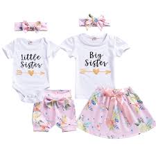 Summer Sister Matching Outfit Baby Girl Kids Big Sister T Shirt Skirt Little Romper Shorts Clothes Matching Father Daughter Clothing Mother Daughter