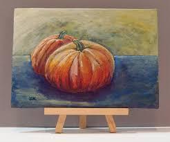Small Pumpkin Painting Original Pumpkin Fall Autumn Halloween Thanksgiving Decor Small