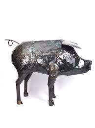 detail 1 recycled metal pig lifesize handmade from recycled oil drums in zimbabwe