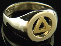 aa gents silver ring with 10k yellow gold triangle view images