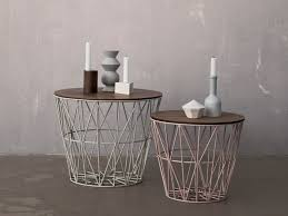 low round iron coffee table wire basket by ferm living ffe iii