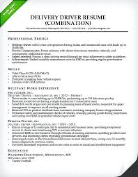 Free Sample Resumes Delivery Driver Combination Resume Sample Free