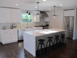 modern white kitchen island. Amber Interiors - Kitchens Industrial, Stools, Modern, White, Quartz, Kitchen Island, Creamy, Cabinets, Countertops, Marble, Modern White Island H
