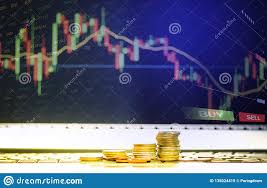 Stock Future Charts Stock Forex Trading Gold Coin Investment Business Graph