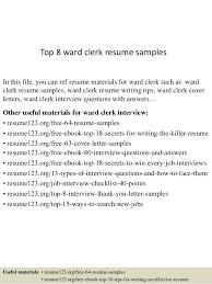 Hospital Unit Clerk Resume Ward Clerk Resume Magdalene Project Org