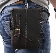 new genuine real leather men vintage brown small messenger tactical belt bag waist pack leg bag