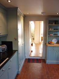 hand painted shaker style kitchen in farrow ball blue grey
