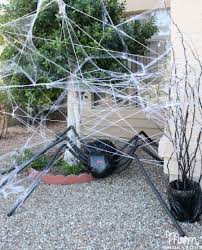 Outdoor Halloween Props Diy Halloween Decorations Spooky Spider Web And A Giant Spider