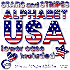 Blue Letters Patriotic Alphabet Clipart Usa Red White And Blue 4th Of July Clipart Memorial Day Stars And Stripes Amb 919