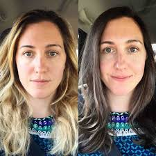 Brunette to blonde before and after