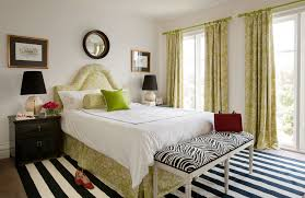 black and white and green bedroom. master-bedroom-grass-green-patterned-bedhead-zebra-bench- black and white green bedroom