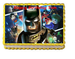superhero sheet cake lego batman birthday party edible cake topper image decoration