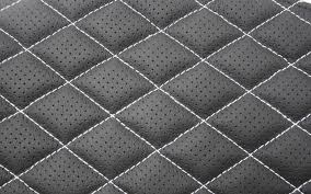 Quilted Leather Seat Swatch | Trim Technik & Quilted black leather with white single stitching Adamdwight.com