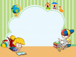border template with kids reading books free vector
