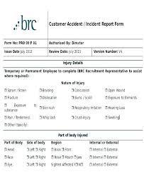 Incident Report Sheet Template Customer Incident Report Form