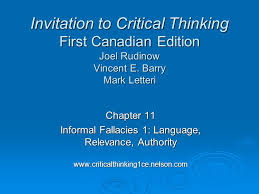 Critical Thinking  Common Informal Fallacies  Part     Craig s