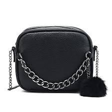 famous designer long chain bag women pu leather handbag women messenger bags pu shoulder cross bag with plush ball toy bolsa black leather handbags
