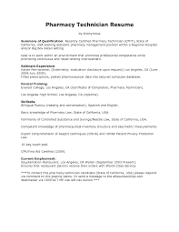 Cover Letter Professional Pharmacy Technician Summary Resume And