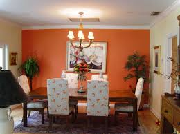 modern dining room colors. Fantastic Design Of The Orange Wall Added With White Ceiling And Chandeliers Ideas For Dining Room Modern Colors G