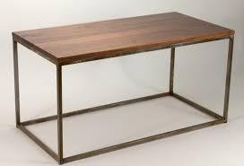 modern metal box frame coffee table solid wood living room custom table