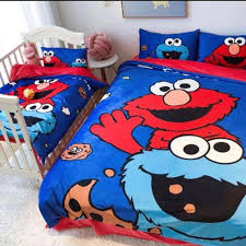 elmo and cookie monster bedsheet set