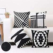 black and white accent pillows. Unique Accent Baibu 100 Cotton Embroidery Decor Throw Pillow Case Black And White  Geometric Cushion Cover 4PCS On And Accent Pillows E