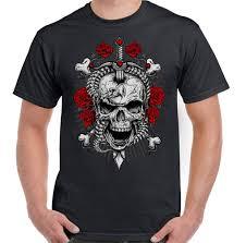 восстание череп с розами меч мужская байкер футболка мотоцикл татуировки