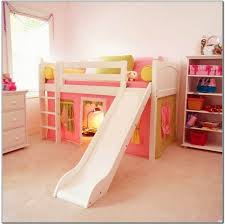bunk bed with slide for girls. Adorable White Girls Loft Bed With Slide And Pink Tent Including Chest Of Drawers Bunk For