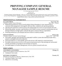 Printing Company General Manager Resume Magdalene Project Org