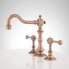 bathroom faucet knobs. Vintage Widespread Bathroom Faucet - Lever Handles Antique Copper. Side Knobs