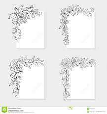 Black And White Greeting Card Set Of Black And White Hand Drawn Corner Floral Borders Stock