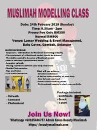 info kelas model muslimah febuary 2019 modelling cl catwalk pose runway professional