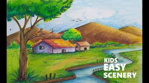 1280x720 natural scenery drawing for kids how to draw scenery of a village