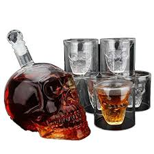 union power skull shape whiskey decanter set with 6 etched whiskey glasses white wine scotch whisky bourbon vodka wine beer bar funnel 700ml 675ml