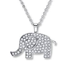 email crystal elephant necklace stainless steel