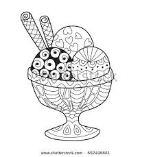 doodle coloring book page ice cream in bowl anti stress coloring for s