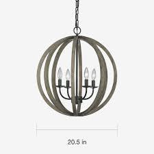 lighting round 45 light gray oak wood and iron valencia chandelier