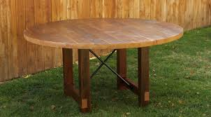 arbor exchange reclaimed wood furniture round dining table with metal x