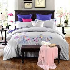 grey and white magnolia embroidery egyptian cotton bedding sets bed linen queen king size duvet cover