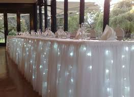 lights under table linens at head table