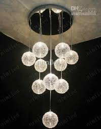 ball aluminum wire chandelier pendant droplight ceiling lighting lamps light living room dining stair lights application lamps staircase