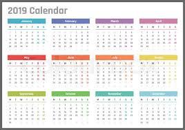 Calendar For 2019 Starts Monday Stock Vector Colourbox