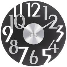 black silver art deco wall clock