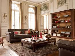 classic living room decorations with dark finished furniture off white walls dark brown sofa low coffee table dark finished open shelves