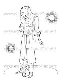 Muslim Hijabi Coloring Book Page Digital Download Muslimah Muslim