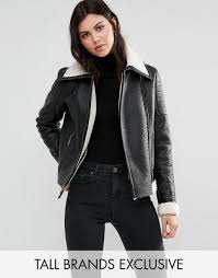 glamorous tall faux shearling jacket with leather look trim detail black women coat comfortable glamorous heels factory