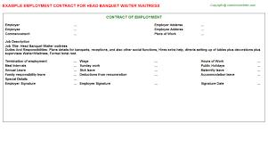 Head Banquet Waiter Waitress Employment Contract | Agreements ...